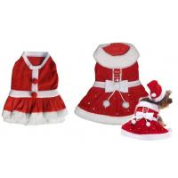 Cheap Holiday Red Small Dog Christmas Dress Apparel Pet Clothes For Poodle for sale