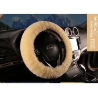 Cheap Lambskin Long Wool Sheepskin Steering Wheel Cover For Car Interior Accessories for sale