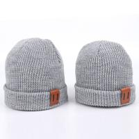 Cheap Leather Patch Knit Beanie Hats Custom Design Warm Hat Cap Yellow Beanie Hats for sale