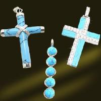 Best 925 Sterling Silver Cross Turquoise Pendant (PSK9023) wholesale