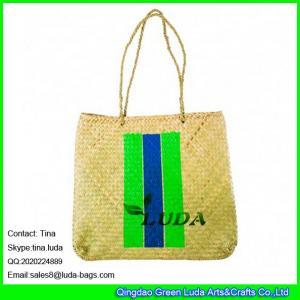 China LUDA striped colors printing hand made seagrass promotional beach bag handbag on sale