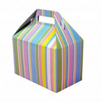 Best Beautiful Foldable Cake Packaging Box Silver Art / Kraft Paper With Handle wholesale