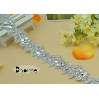 Best Silver Embroidery Rhinestone Chain By The Yard With Sequins , Flower Design wholesale