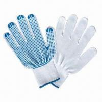 Best Cotton Yarn Gloves with Blue PVC Dots Coating wholesale