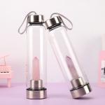 Best 550 Ml Shatterproof Glass Water Bottle Gemstone Crystal Infused Energy Drink Use wholesale