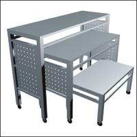 Best Iron Frame Wooden Store Display Table , Freestanding  Metal Shop Display Tables wholesale