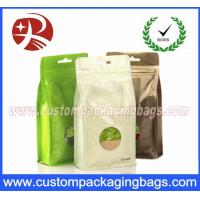 Best Flat Bottom Foil Plastic Ziplock Bag For Tea , Stand Up Packaging Pouches With Window wholesale
