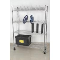 Best 4 Layers Carbon Steel Industrial Wire Shelving Chrome Surface Finish Standard Size wholesale