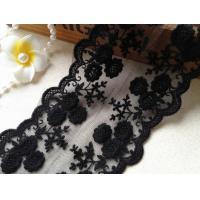 Best Black Flower Embroidery Tulle Mesh Nylon Lace Trim With Scalloped Edge 4.3'' Width wholesale