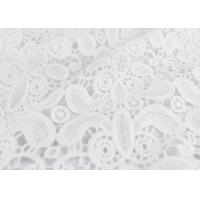 Best Embroidery White Stretch Lace Fabric , Water Soluble Guipure Lace Fabric For Wedding Dresses wholesale