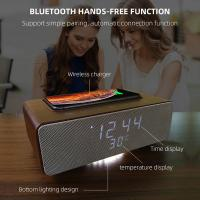 China Wireless Charging Bluetooth Stereo Speakers Alarm Clock Room Temperature Display on sale