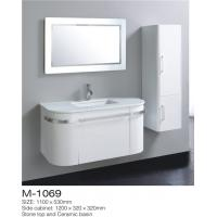 Best LED Mirror Wall Hung Bathroom Vanity , White Bathroom Vanity With Side Cabinet wholesale