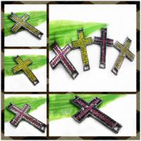 Best Alloy Charm Sideway Crystal Pave Cross Pandent For Necklace 26 * 43mm wholesale