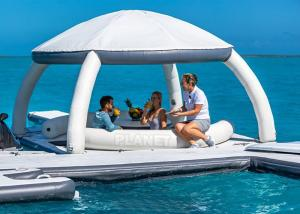 Best 3.4x3.4m Floating Inflatable Docks Water Park Inflatable Resting Island With Shade Tent wholesale