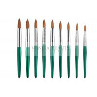 Quality Fashion Green Nail Art Paint Brushes Kolinsky Hair And Carved Ferrule wholesale