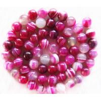 Best Semi Precious Gem Beads Natural Pink Round Agate Gemstone Beads wholesale