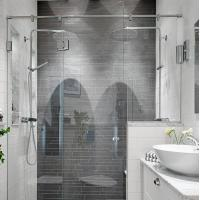 Best Modern tempered glass white line glass Shower Room compact shower enclosure wholesale