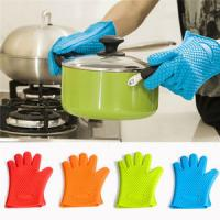Best Kitchen Heat Resistant Silicone Glove Oven Pot Holder Baking BBQ Cooking Mitts wholesale