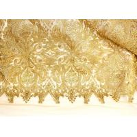 Best Fashion Floral Pattern Gold Lurex Nylon Lace Fabric for Party / Banquet Dress wholesale