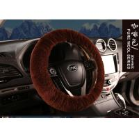 Cheap Black Genuine Sheepskin Steering Wheel Cover With Australia Pure Wool for sale