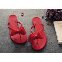 Best Plastic Upper Fashion Flip Flops With Bowknot Flat Heel Ladies Thong Slippers wholesale