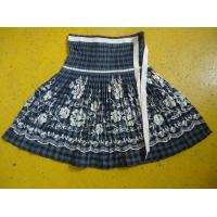 Best 100% Cotton Little Girl Floral Dress , Ribbons Waist Girls Pleated Skirt For Age 7 wholesale