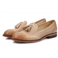 Best British Style Khaki / Blue Ladies Slip On Brogues , Leather Brogue Shoes With Tassels wholesale