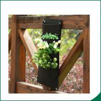 Best 4 Pockets Black Color Recycled Vertical Wall Garden Planter / Balcony Plant Grow Bag wholesale