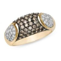 Best 1 Carat Brown and White Diamond 14K Yellow Gold Ring wholesale