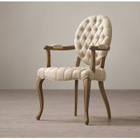 Dining Room Chairs With Arms For Sale: Cheap Tufted Round Arm Fabric Covered Dining Chairs