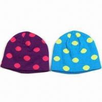 Best Children's 100% Acrylic Jacquard Knitted Hats with Double Layer wholesale