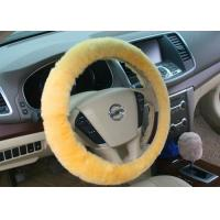 Best Diameter 38cm Dyed Red Fluffy Steering Wheel Cover Super Soft With Lamb Fur wholesale