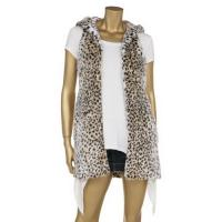 Best Leopard Printing Fashionable Winter Coats Faux Fur Full Lining Sleeveless Hooded Jacket wholesale