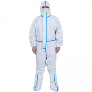 China Polyester Sterile Isolation Chemical Disposable Protective Coveralls on sale