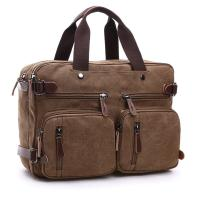 Dual Use Canvas Office Laptop Bags ,  15 Inch Laptop Messenger Bags School Use Durable