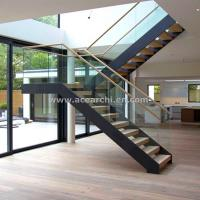 Best Modern L-shape Wood Staircase Design / Internal Used Glass Railing Wood Stairs wholesale