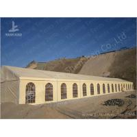 Quality 500 Seater Outdoor Party Tents Mud-Yellow Tarpaulin Aluminium Frame Marquee 15x45 M wholesale