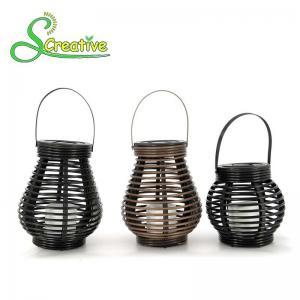 Best Hanging Amorphous Silicon Solar Led Rattan Lantern , Round Rattan Candle Table Lanterns wholesale