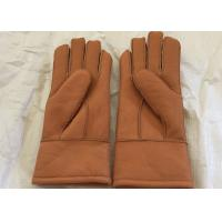 Best Genuine Shearling Brown Warmest Sheepskin Gloves M / L Size For Kids / Adults wholesale