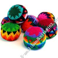 China Hand Knit Crochet Hacky Sack Footbag Teething Toy Kick Ball Juggling Hack Sack Crocheted Ornament Christmas Beads Dec on sale