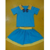Best Royal Blue And Mustard Children'S Cotton Pajamas Home Playwear Brother Sister 2pc Sets wholesale