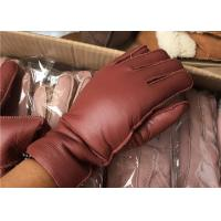 Cheap Double Breathable Ladies Black Leather Sheepskin Lined Gloves For Cell Phone Use for sale
