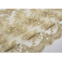 Best Golden Corded Floral Embroidered Tulle Fabric Scalloped Edge For Wedding Dresses wholesale