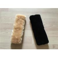Best Purple Natural Sheepskin Seat Belt Cover Non Patchwork 15X30CM / Customized Size wholesale