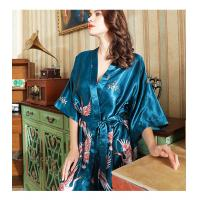 Cheap Satin Kimono Bathrobe Women bath robe Bride Bridesmaid Wedding Robe Dress Gown Sexy Flower Long Sleepwear for sale