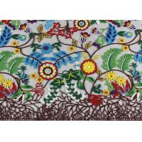 Best Rural Style Multi Colored Lace Fabric with Abundant Flowers And Leaves Pattern wholesale