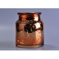 Best Large capacity 20oz coloured glass candle holders , mercury rose gold glass candle jar wholesale