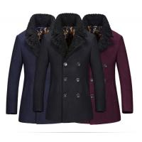 Best Regular Length Mens Wool Coat With Fur Collar , Mens Double Breasted Trench Coat wholesale
