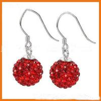 Buy cheap 6 - 12mm Round Red Shamballa Bead Earrings Beaded Handmade Jewellery from wholesalers
