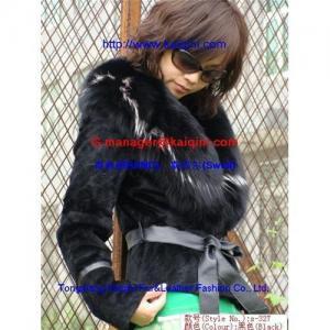 China Discount rex rabbit fur coat+fox fur collar s-327 on sale
